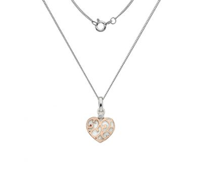 Sterling silver rose gold heart pendant aureum jewellery sterling silver rose gold heart pendant mozeypictures Image collections